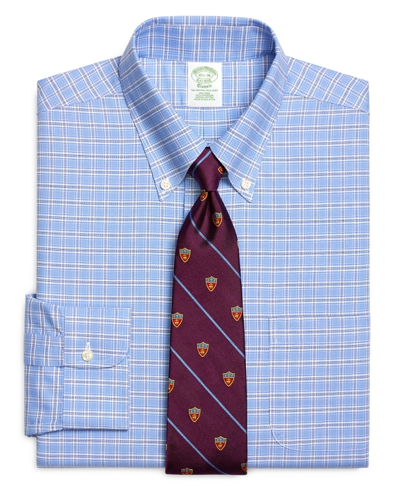 Non-Iron Extra-Slim Fit BrooksCool® Ground Check Dress Shirt Blue