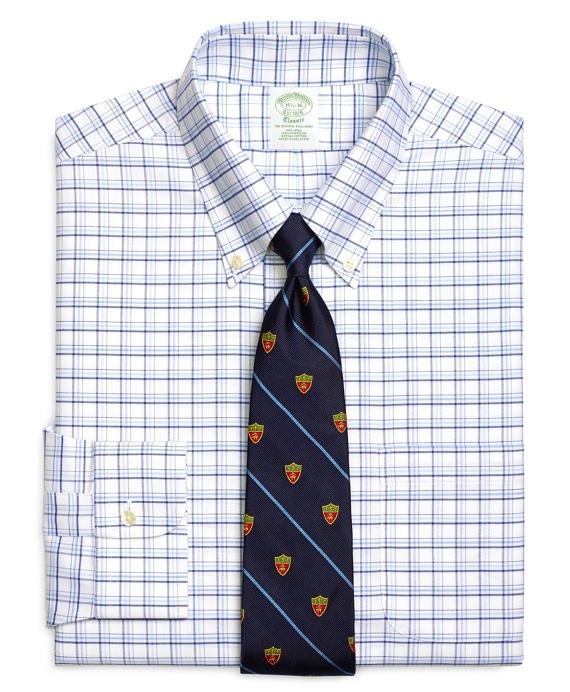 Non-Iron Extra-Slim Fit BrooksCool® Triple Tattersall Dress Shirt Blue