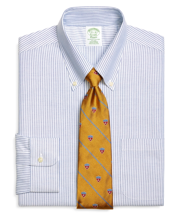 Non-Iron Extra-Slim Fit BrooksCool® Bengal Stripe Dress Shirt Blue