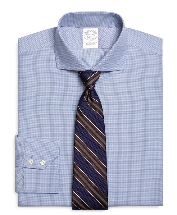 Slim Fit Mini Check Dress Shirt Blue