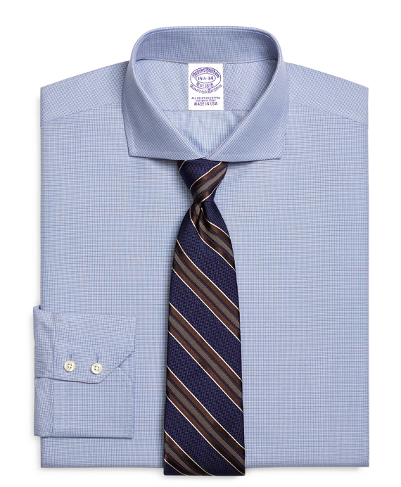 Regular Fit Mini Check Dress Shirt Blue