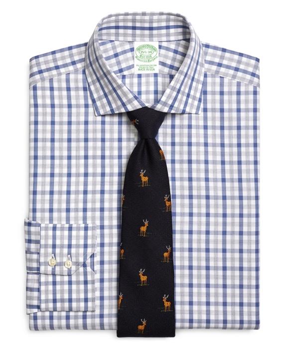 Extra-Slim Fit Herringbone Check Dress Shirt Blue