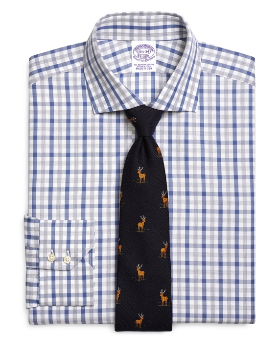 Regular Fit Herringbone Check Dress Shirt Blue