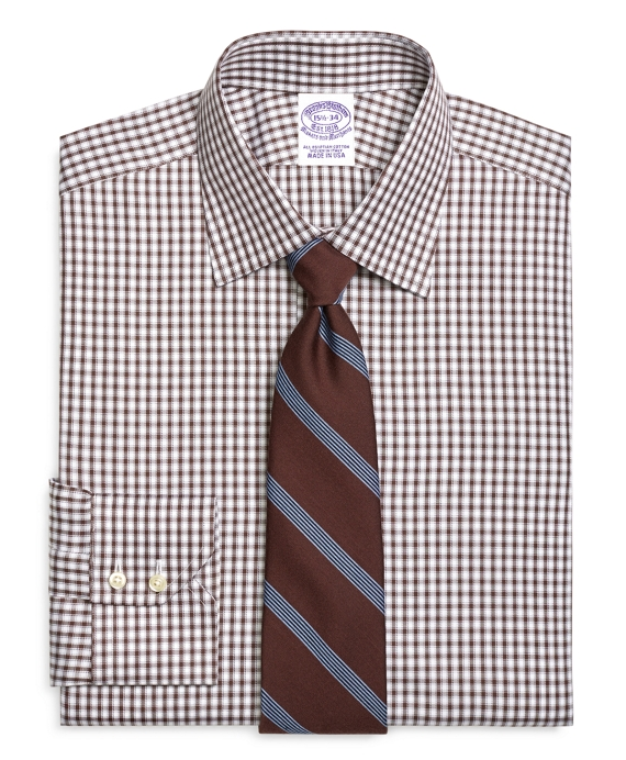 Regular Fit Shadow Check Dress Shirt Brown