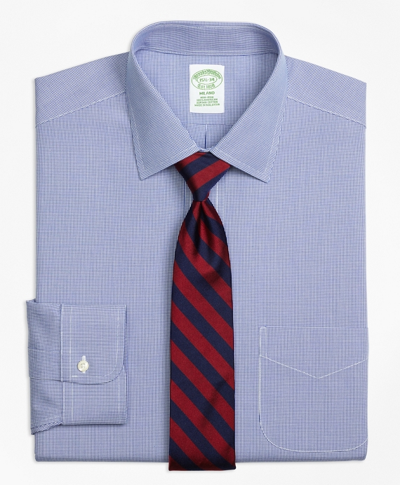 Milano Slim-Fit Dress Shirt, Non-Iron Houndstooth