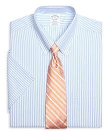 Non-Iron Regent Fit Short-Sleeve Glen Stripe Dress Shirt
