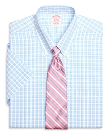 Non-Iron Madison Fit Short-Sleeve Framed Gingham Dress Shirt