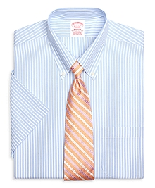 Non-Iron Madison Fit Short-Sleeve Glen Stripe Dress Shirt