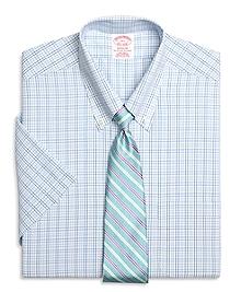 Non-Iron Madison Fit Short-Sleeve  Twin Check Dress Shirt