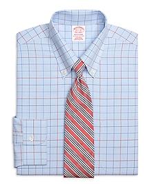 Non-Iron Traditional Fit Triple Alternating Windowpane Dress Shirt