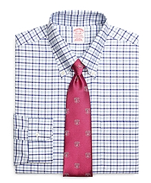 Non-Iron Traditional Fit BrooksCool® Framed Alternating Windowpane Dress Shirt