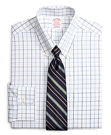 Non-Iron Traditional Fit Alternating Windowpane Dress Shirt