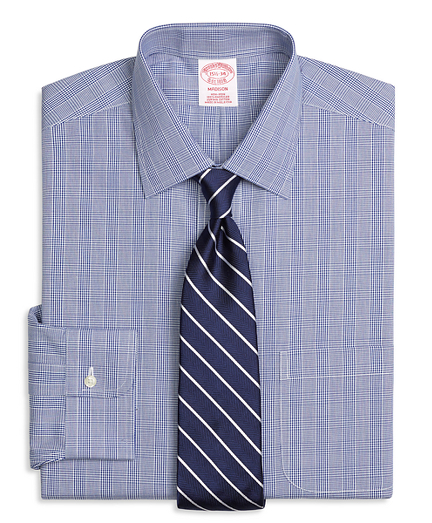 Non-Iron Madison Fit Glen Plaid Dress Shirt