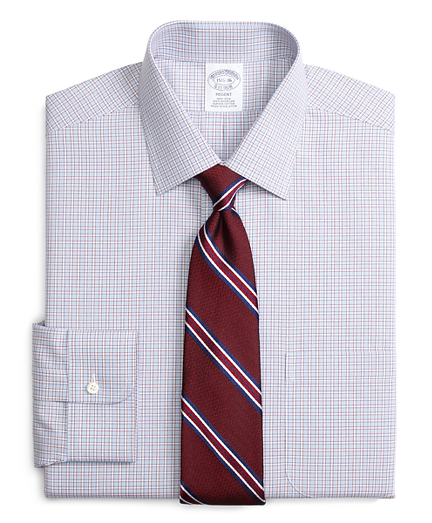 Non-Iron Regent Fit Hairline Framed Check Dress Shirt