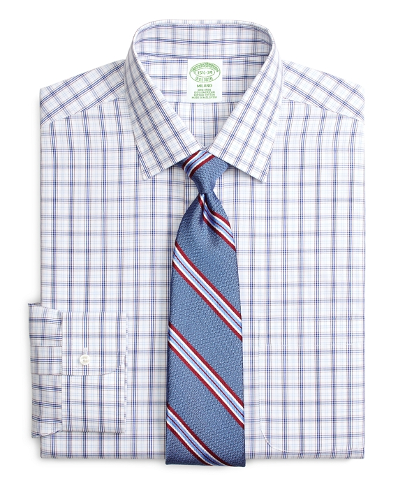 Milano Slim-Fit Dress Shirt, Non-Iron Twin Plaid Blue