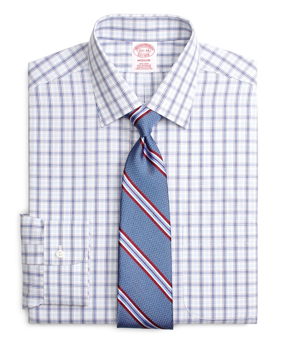 Madison Classic-Fit Dress Shirt, Non-Iron Twin Plaid Blue