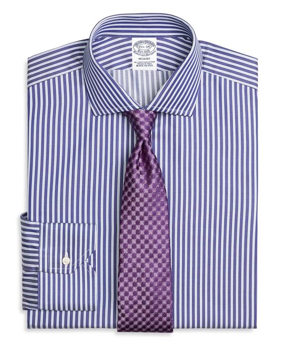 Regent Fitted Dress Shirt, Split Stripe Blue