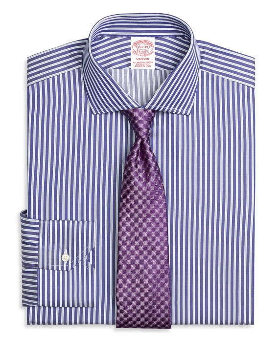 Madison Classic-Fit Dress Shirt, Split Stripe Blue