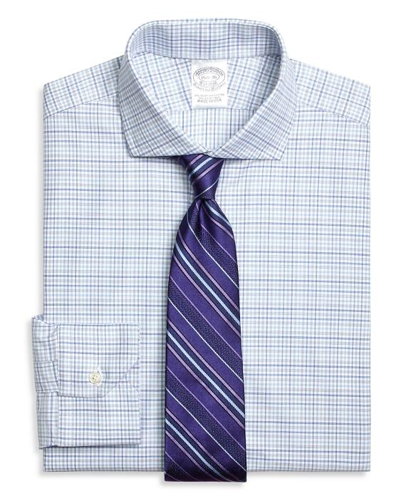 Regent Fitted Dress Shirt, Triple Check Blue