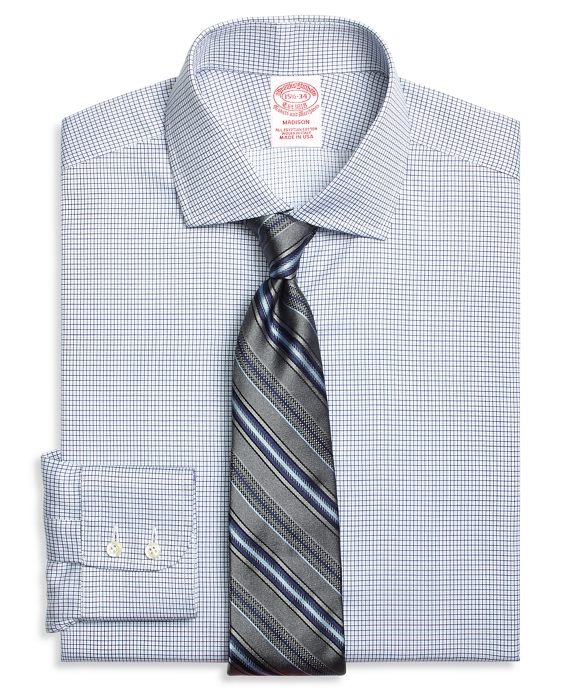 Madison Classic-Fit Dress Shirt, Textured Micro Check Blue