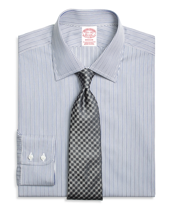 Madison Classic-Fit Dress Shirt, Rope Stripe Blue