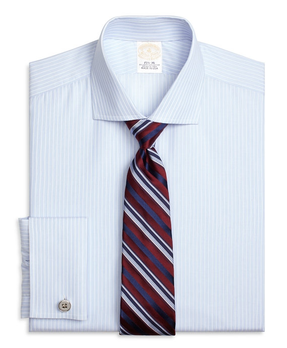 Golden Fleece® Regent Fitted Dress Shirt, French Cuff Music Stripe Light Blue