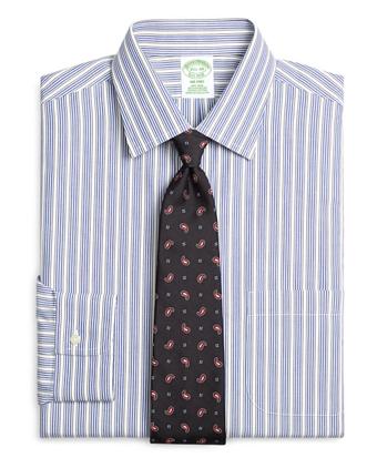 Non-Iron Milano Fit Framed Triple Stripe Dress Shirt