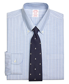 Non-Iron Madison Fit BrooksCool® Alternating Ground Stripe Dress Shirt