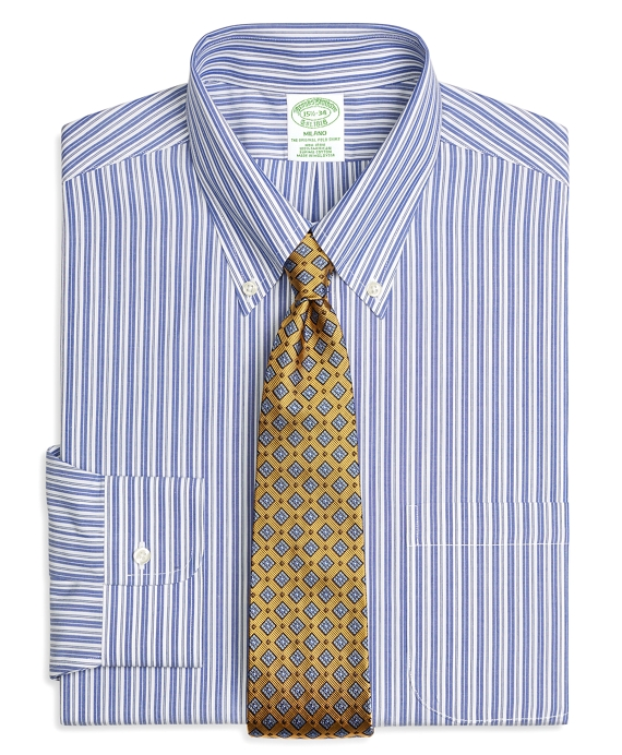 Milano Slim-Fit Dress Shirt, Non-Iron Bold Split Stripe Blue