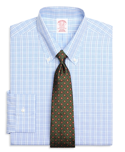 Non-Iron Madison Fit Alternating Twin Check Dress Shirt