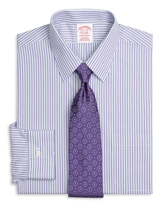 Non-Iron Traditional Fit Alternating Split Stripe Dress Shirt Purple