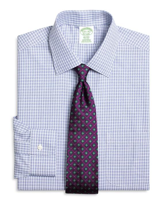 Milano Slim-Fit Dress Shirt, Non-Iron Parquet Check Blue