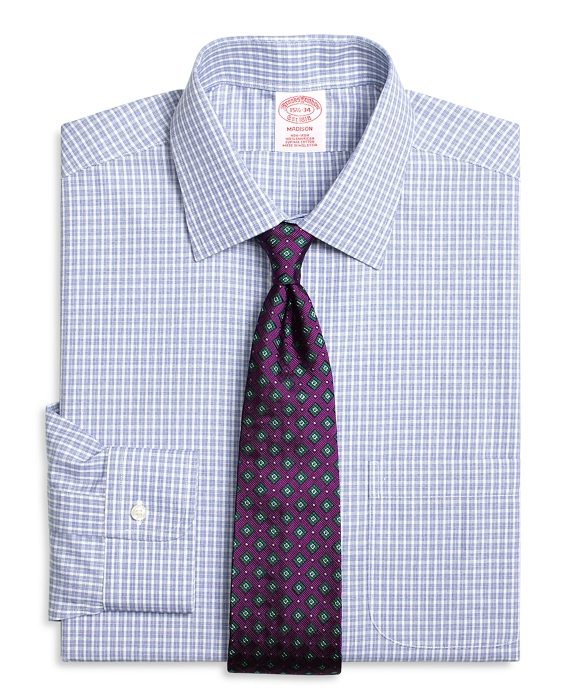 Madison Classic-Fit Dress Shirt, Non-Iron Parquet Check Blue
