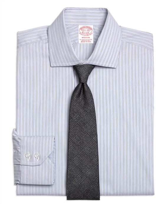 Madison Classic-Fit Dress Shirt, Heathered Frame Stripe Grey