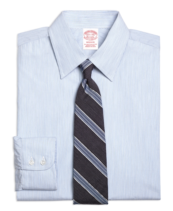 Madison Fit Heathered Candy Stripe Dress Shirt Light Blue