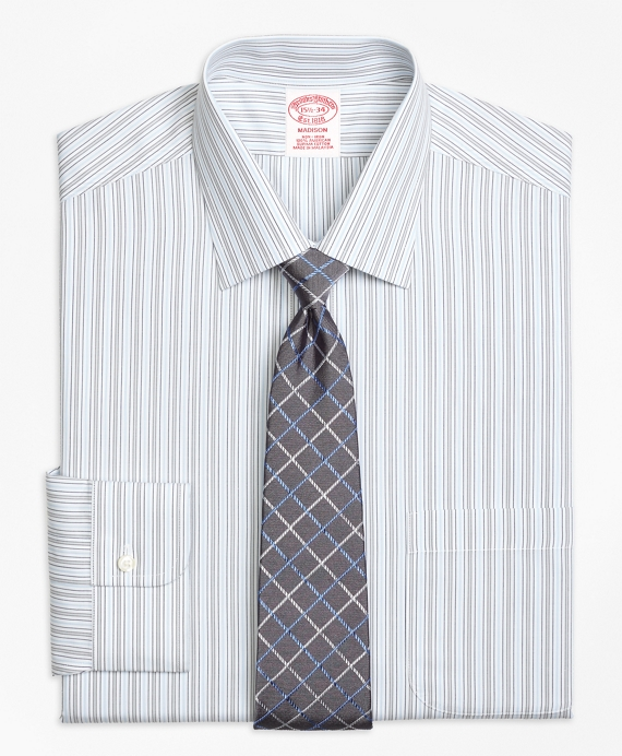 Non-Iron Madison Fit Alternating Stripe Dress Shirt
