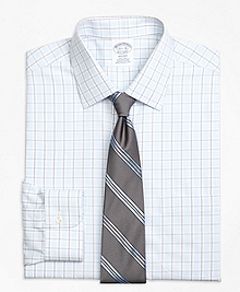 Non-Iron Regent Fit Hairline Overcheck Dress Shirt