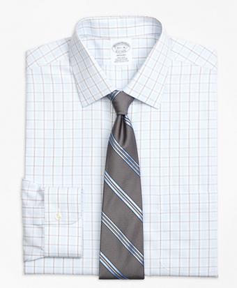 Non-Iron Regent Fit Hairline Overcheck Dress Shirt