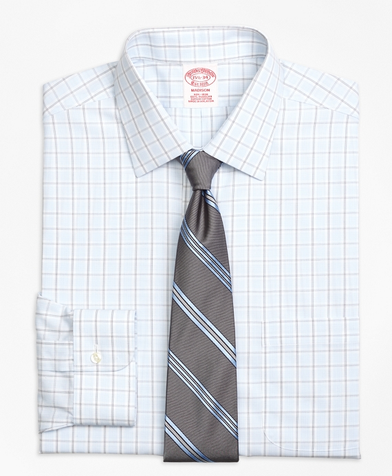 Non-Iron Madison Fit Hairline Overcheck Dress Shirt