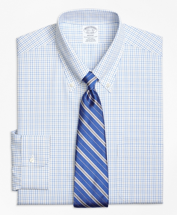 Regent Fitted Dress Shirt, Non-Iron Alternating Tattersall Light Blue