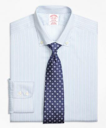Non-Iron Madison Fit Alternating Framed Stripe Dress Shirt