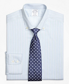 Non-Iron Regent Fit Alternating Framed Stripe Dress Shirt
