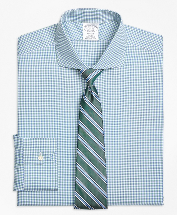 Regent Fitted Dress Shirt, Non-Iron Micro Framed Gingham Blue