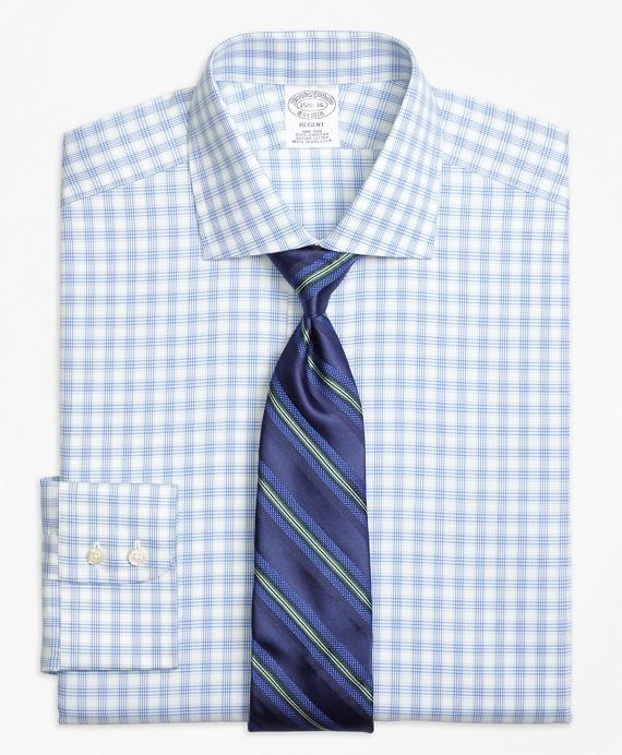 Regent Fitted Dress Shirt, Non-Iron Hairline Framed Check Blue