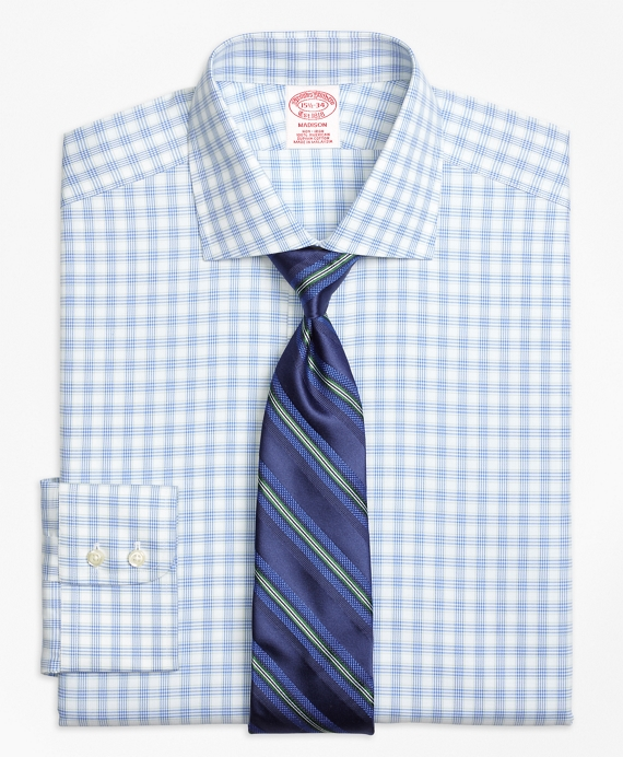 Non-Iron Madison Fit Hairline Framed Check Dress Shirt Blue