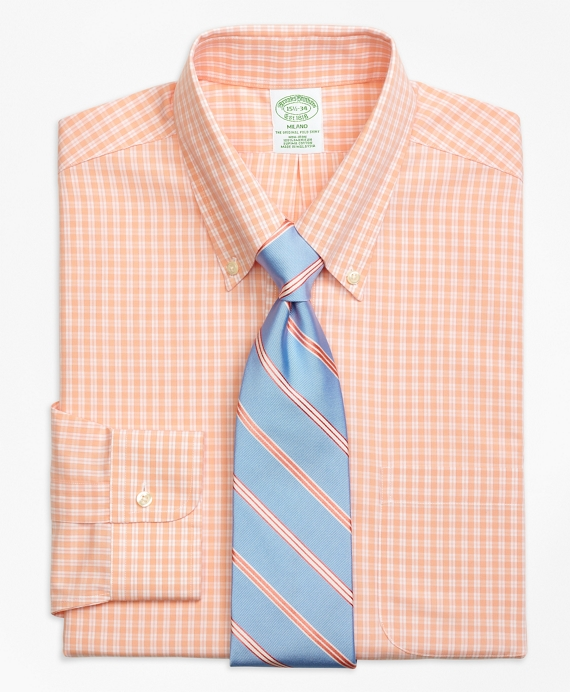 Non-Iron Milano Fit Twin Gingham Dress Shirt Peach