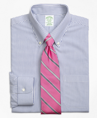 Non-Iron Milano Fit Wide Stripe Dress Shirt