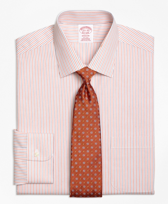 Madison Classic-Fit Dress Shirt, Non-Iron Split Stripe Orange