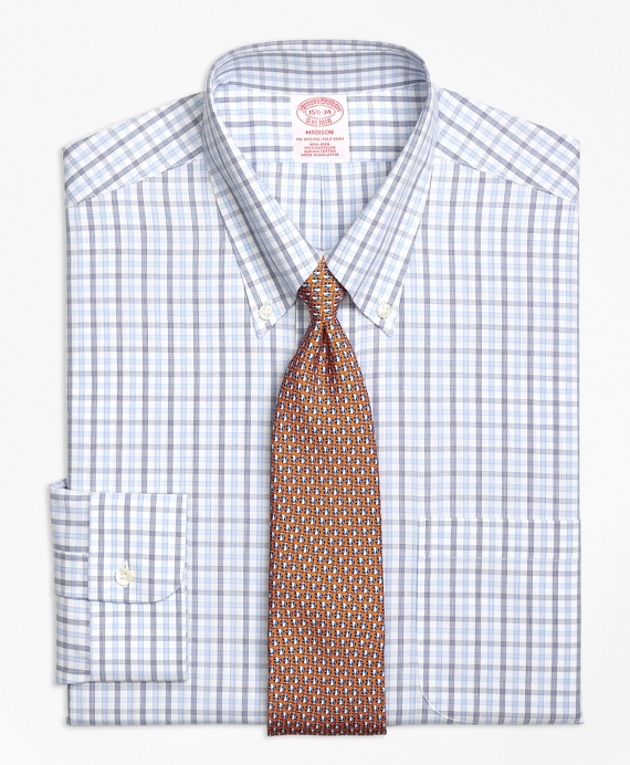 Madison Classic-Fit Dress Shirt, Non-Iron Alternating Check Blue