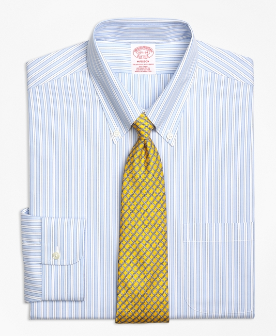 Non-Iron Madison Fit Track Stripe Dress Shirt Blue
